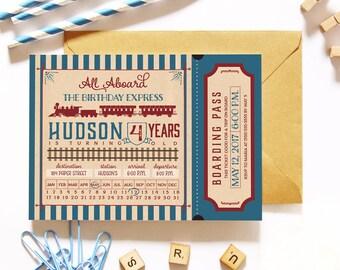 Vintage Train Birthday Party Ticked Invitation - Boy Birthday Party Invite - Retro Steam Engine - Printed or Printable Invitations