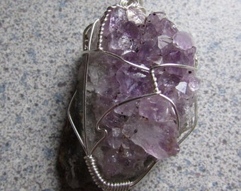 Amethyst Cluster Wire Wrapped Crystal Pendant