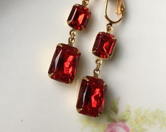 Siam Red Rhinestone Bridal Dangle Clip On Earrings / Ruby Red Drop Clip Earring / Bridesmaid Clipon