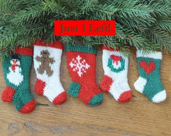 Snowman, Gingerbread Man, Snowflake, Wreath and Heart Hand-Knit Christmas Stocking Ornaments