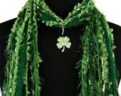 Shamrock St Patricks Day Scarf, Green Scarf, Four Leaf Clover, Green Scarf, Irish Necklace Scarf, Detachable Pendant, Fringe Scarf