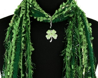Shamrock St Patricks Day Scarf, Green Scarf, Four Leaf Clover, Green Scarf, Irish Necklace Scarf, Detachable Pendant, Fringe Scarf
