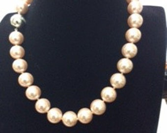 Pink Shell Pearl Necklace with Silver Ball Lock, Ladies Necklaces, Pearl Necklace