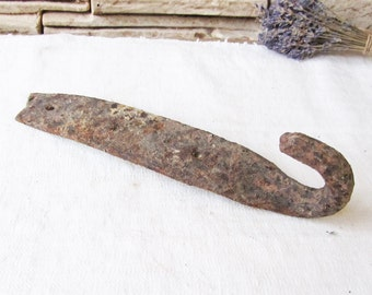 Antique iron barn door hook Antique metal hook Hand forged hook Old rusty hook Industrial Rustic home Farm house Primitive Gate latch