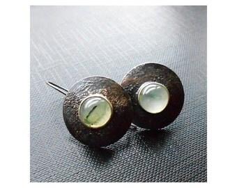 Sterling Silver Earrings, prehnite earrings, green, 925 silver earrings