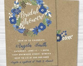 Rustic Blue Floral Bridal Shower Invitation - Flower, Blue, Tan