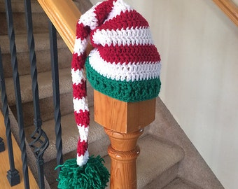 Red, White and Green Stripe Christmas Hat with Big Green Pom Pom