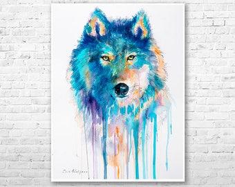 Wolf watercolor painting print by Slaveika Aladjova, art, animal, illustration, home decor, Nursery, gift, Wildlife, wall art