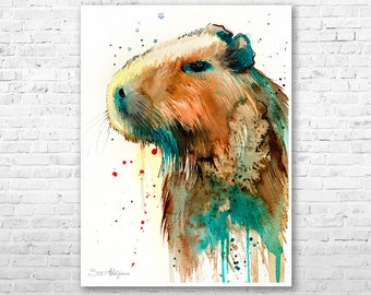 Capybara watercolor painting print by Slaveika Aladjova, art, animal, illustration, home decor, Nursery, gift, Wildlife, wall art,