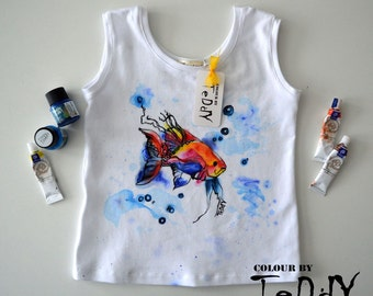 Hand painted t-shirts, Limited Hand painted Kids-100% cotton white tshirt-Inspired by illustration, kids' Clothing