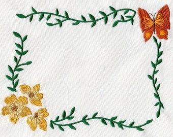 Butterfly in Blooms Machined Embroidered Made-to-Order Quilt Label
