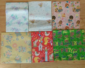 Vintage Wrapping Paper Bundle of 6 - Perfect for Scrapbooking, Clowns, Girls, Hot Air Balloons and Party
