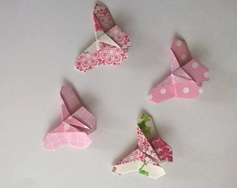 """4 Corner Bookmarks """"Butterfly"""" - pink floral"""