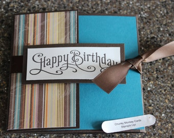 Stampin Up Homemade Greeting Card Happy Birthday tri fold brown stripe fall
