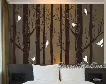 Large Birch Tree Wall Decal, Sofa art, Baby Nursery Wall Stickers, Living room Mock up, Wall Murals,Interior, forest, woodland, woods-DK256