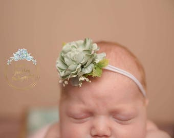 Sage headband- newborn prop- newborn headband- sage green floral- floral headband- green newborn headband- nylon headband