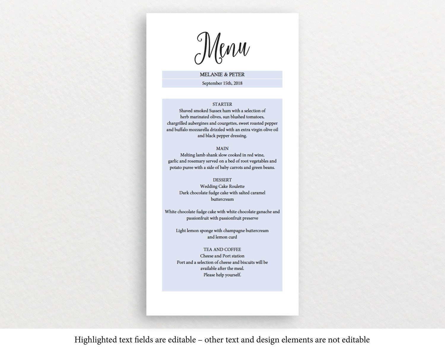 Wedding Menu Card Template Dinner Sample Letter Of Promotion Il Fullxfull