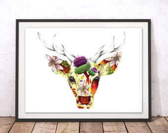 Floral Stag Print, Scottish Thistle Stag, Flowers with Deer Art Print, Colorful Patterned Stag Drawing, Floral Stag Poster
