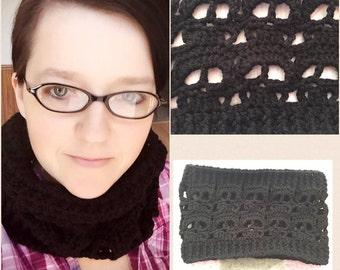 Black Skull Crochet Cowl Scarf