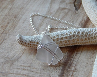 Sea Beach Glass Jewelry, Wire Wrapped Sea Glass Pendant, Seaglass Necklace, Sterling Silver Wrapped, Beach Glass Pendant, White Sea Glass