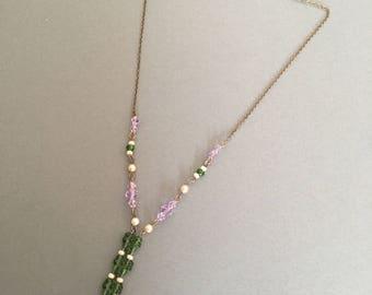 Vintage Suffragette Look Necklace Purple Green Glass Facet Faux Pearl Pendant