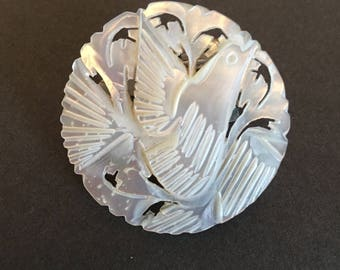 Vintage Mother of Pearl Brooch Pin Hand Carved Bird Dove Bethlehem Tourist Item