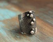 MADE TO ORDER custom size textured saddle ring band with cast beads sterling silver oxidized Nearly Lost Jewelry
