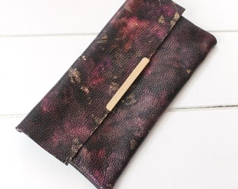 Plum Purple Clutch Bag, Leather, Handmade Evening Bag Purse