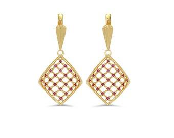 14k solid gold genuine ruby dangle earrings. fancy earrings.