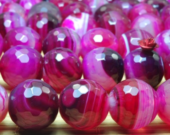 25 pcs of Purple Agate Faceted round beads in 16mm