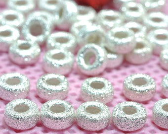 925 Sterling silver spacer wheel wholesale handmade jewelry loose matte beads in 4 mm diameter X 2mm thickness