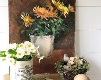 A fantastic vintage oil painting of chrysanthemums