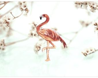 flamingo brooch, bird brooch, illustration flamingo