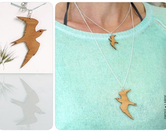 martin necklace, swallow necklace,  laser cut jewelry, swallow, wooden chain, wooden necklace, swallow jewelry, bird necklace, bird jewelry