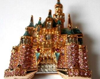 Signed Swarovski Disney Pin Brooch Sleeping Beauty's Castle 50th Anniversary Ltd Ed MIB (D)