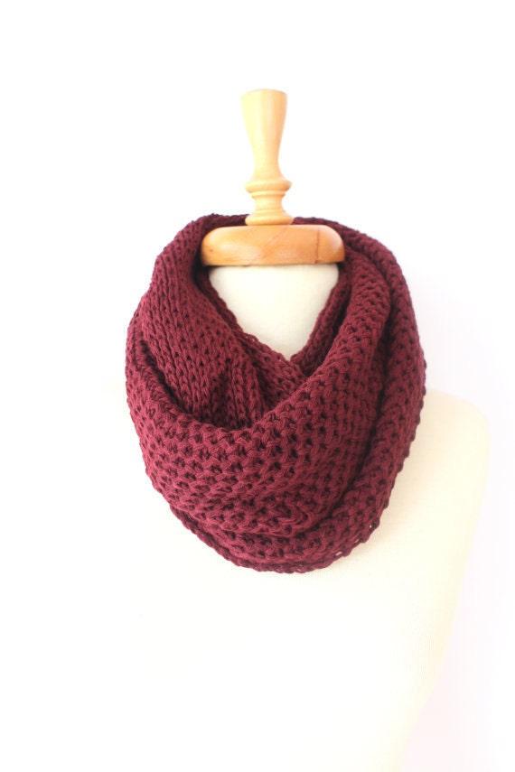 SALE, Knit Scarf, İnfinity Scarf, Chunky Scarf, Scarves, burgundy scarf, Womens Scarfs