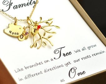 Family Tree Necklace Mothers gifts Personalized Birthstone Necklace Mothers Necklace Gifts for Mom Gifts for Grandma Family Jewelry necklace