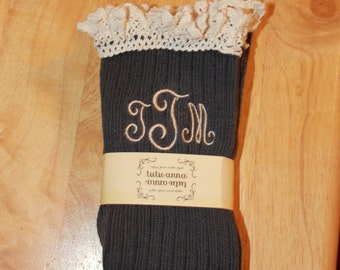 Brown Monogrammed Lace Boot Socks
