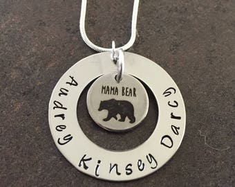 Mother's Day Gift, Mama Bear, Personalized Necklace, Hand Stamped Jewelry, Mother Child,  Mommy Necklace, Family Name Necklace, Stamped