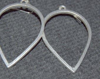 large silver teardrop earrings, silver dangle earrings, dangle oval hoop earrings, everyday jewelry, open teardrop earrings, dangle hoops