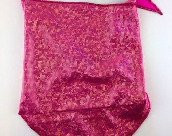 Holographic Gold on Hot Pink Spandex Bandana w/ Shattered Glass Gold Holo Rainbow pattern and Hidden Stash Pocket