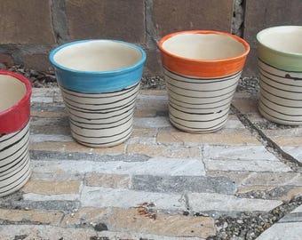 Cup Tumbler - Set cup ceramic colorful - 4 pcs. - Ø 9cm