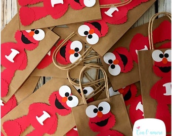 Elmo sesame street birthday party favor bag, goody bag, decorations ,cookie monster favor bag, elmo banner, cookie monster banner