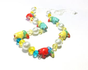 Colorful Painted Toucan and Crystal Necklace