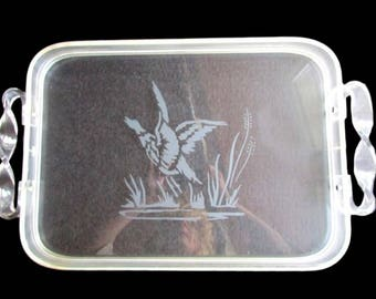 Lucite Serving Tray, Etched Geese/ Duck Tray, Decorative Tray, Hunters Gift, Barware Tray, Man Cave Decor, Sports Tray, Acrylic Serving Tray