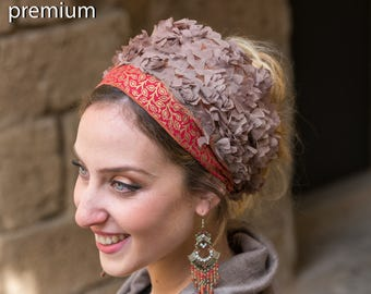 Stunning Gold & Red Headband, Bandana, Tichel, Hair Snood, Head Scarf, Head Covering, Jewish Headcovering, Scarf, Bandana, Apron