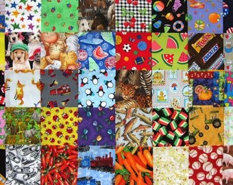 """40 I SPY CHILDRENS All Diff 4 1/2"""" Fabric Quilt Squares Novelty Charm precuts Kids"""