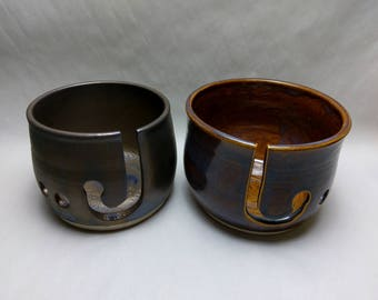 2pc. YARN BOWL Mother's Day Gift Set SALE - Iron Lustre & Saturation Gold - Hand Made Ceramic #767,785