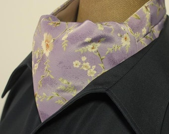 Ascot,men ascot,Ascot tie,lilac, flowers with beige