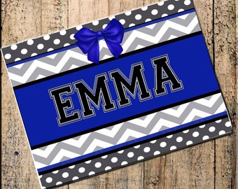 "Personalized Place mat, Chevron Polka Dot, Blue Black Gray 16"" x 10"" Fabric Top, rubber backing, heat resistant, absorbs moisture"